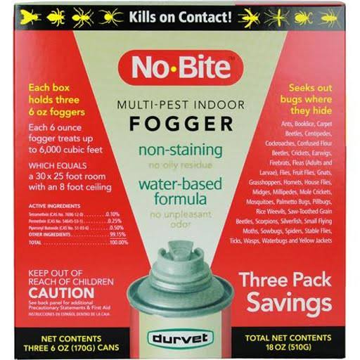 Durvet 011-1135 No Bite Multi Pest Indoor Fogger - 6oz, 3pk