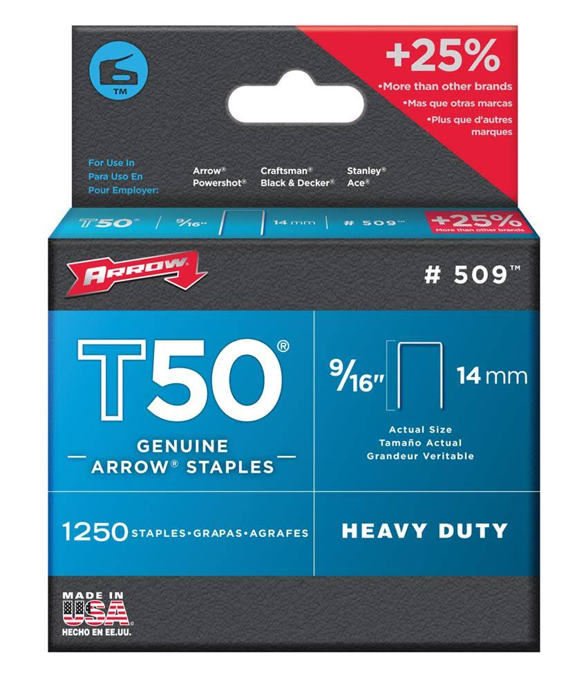 Arrow 509 Genuine T50 Staples - 1250 Pack
