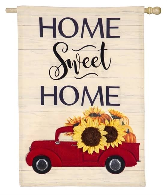 Evergreen Harvest Red Truck Linen House Flag