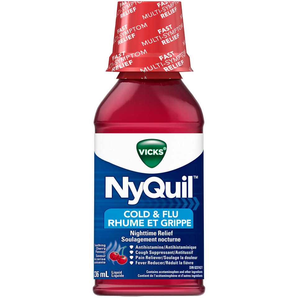 Vicks Nyquil Nighttime Relief Soothing Cherry Cold & Flu Liquid 236ml Bottle
