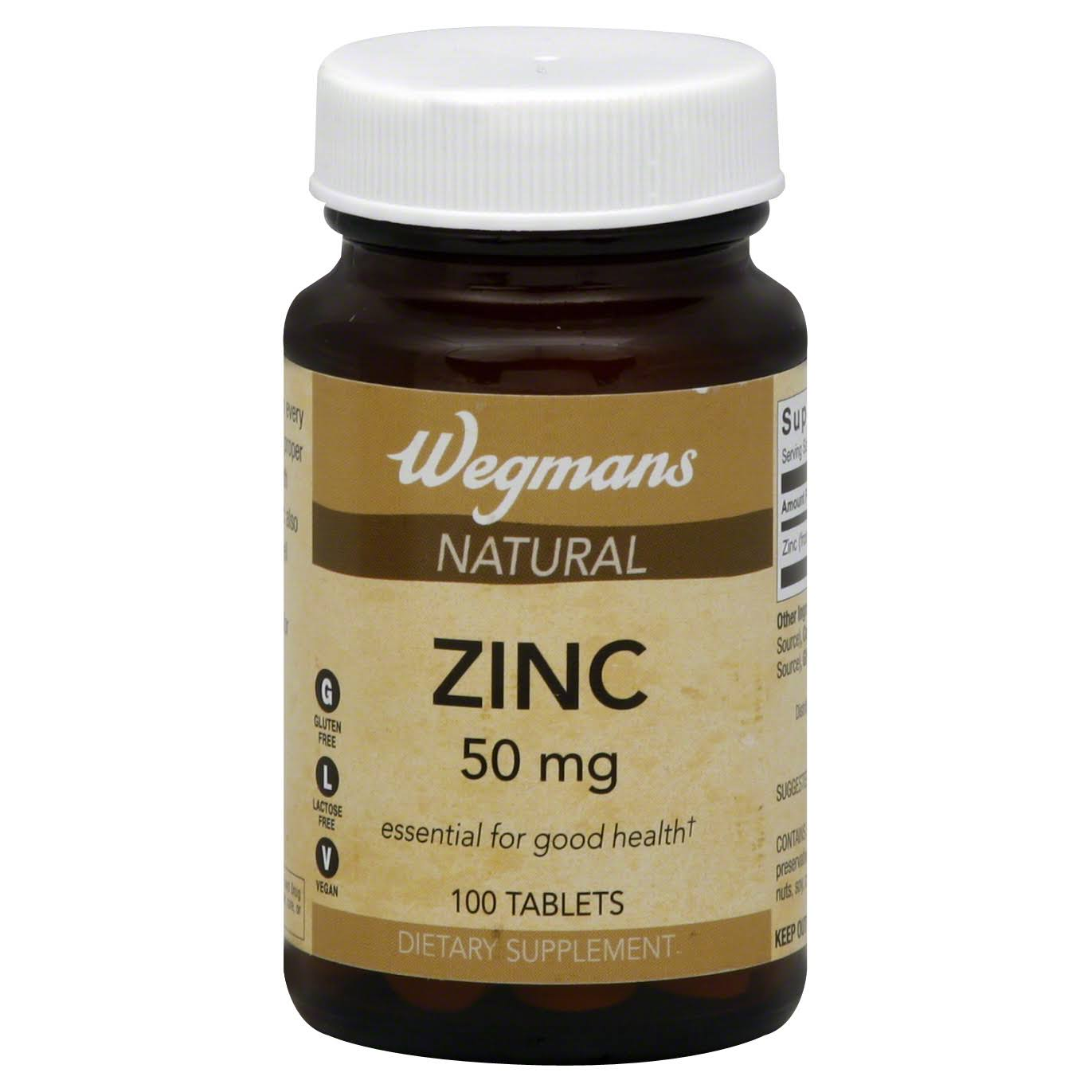 Wegmans Zinc, Natural, 50 mg, Tablets - 100 tablets