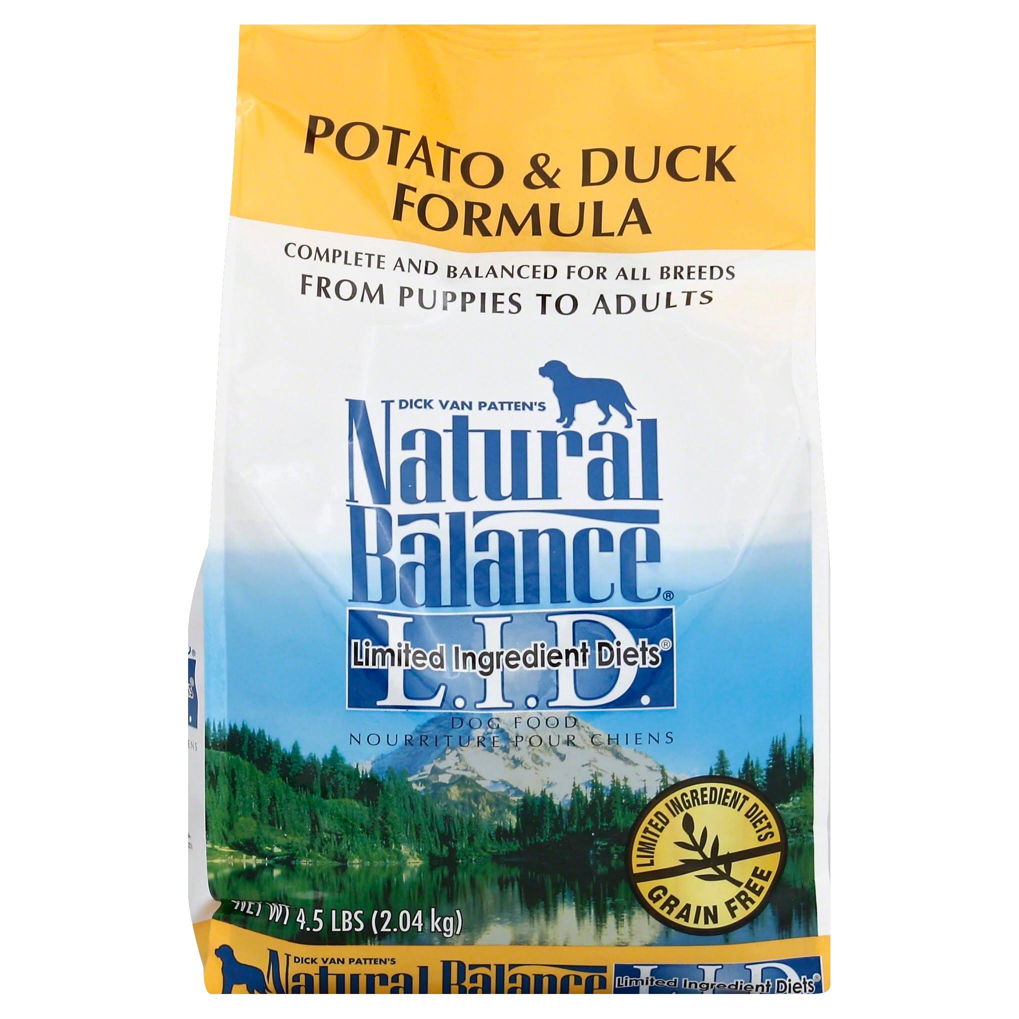Natural Balance L.I.D. Limited Ingredient Diets Dog Food, Potato & Duck Formula, from Puppies to Adults - 4.5 lb