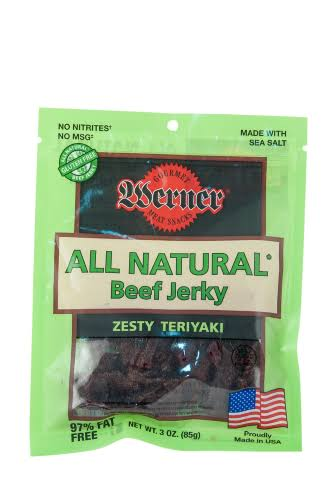 Werner 3oz. All Natural Zesty Teriyaki Beef Jerky 4/6ct.