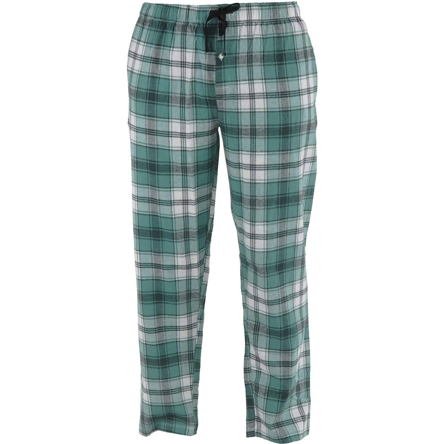 Hello Mello Flannel Lounge Pants for Men | Green Plaid with Pockets X-Large / Green Plaid