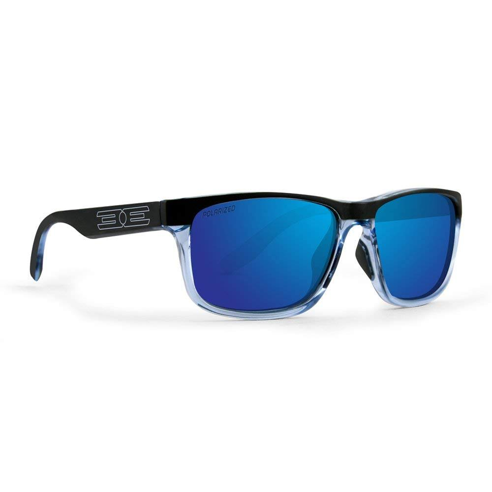 Epoch Eyewear Delta Sport Crystal Blue/Black Frame Sunglasses, Mirror Polarized