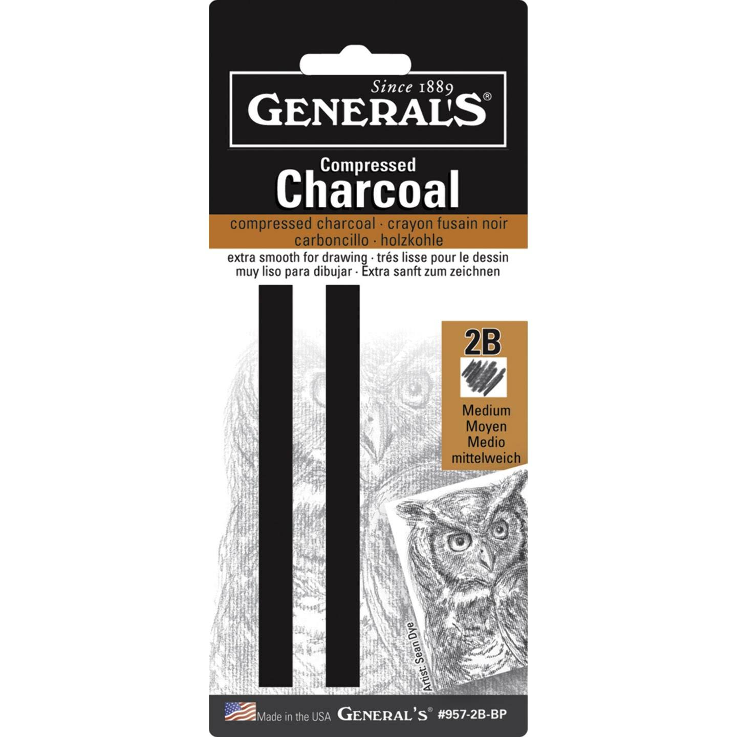 General's Compressed Charcoal Stick - 2B, x2