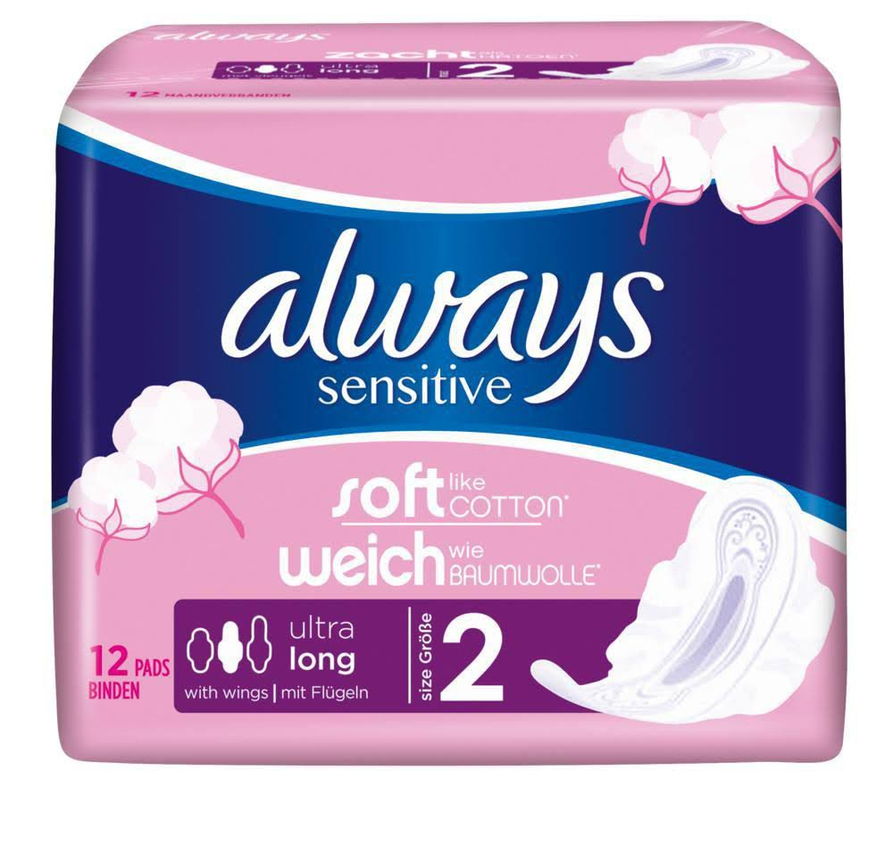 Always Sensitive Long Ultra Sanitary Pads - with Wings, Size 2, 12pk