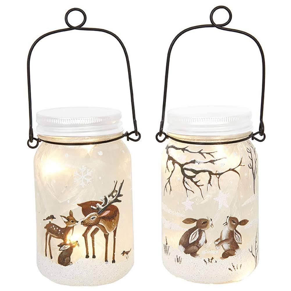 Raz Imports Lighted Mason Jar Set of 2 Bunnies Deer in Winter 3 x 5.5