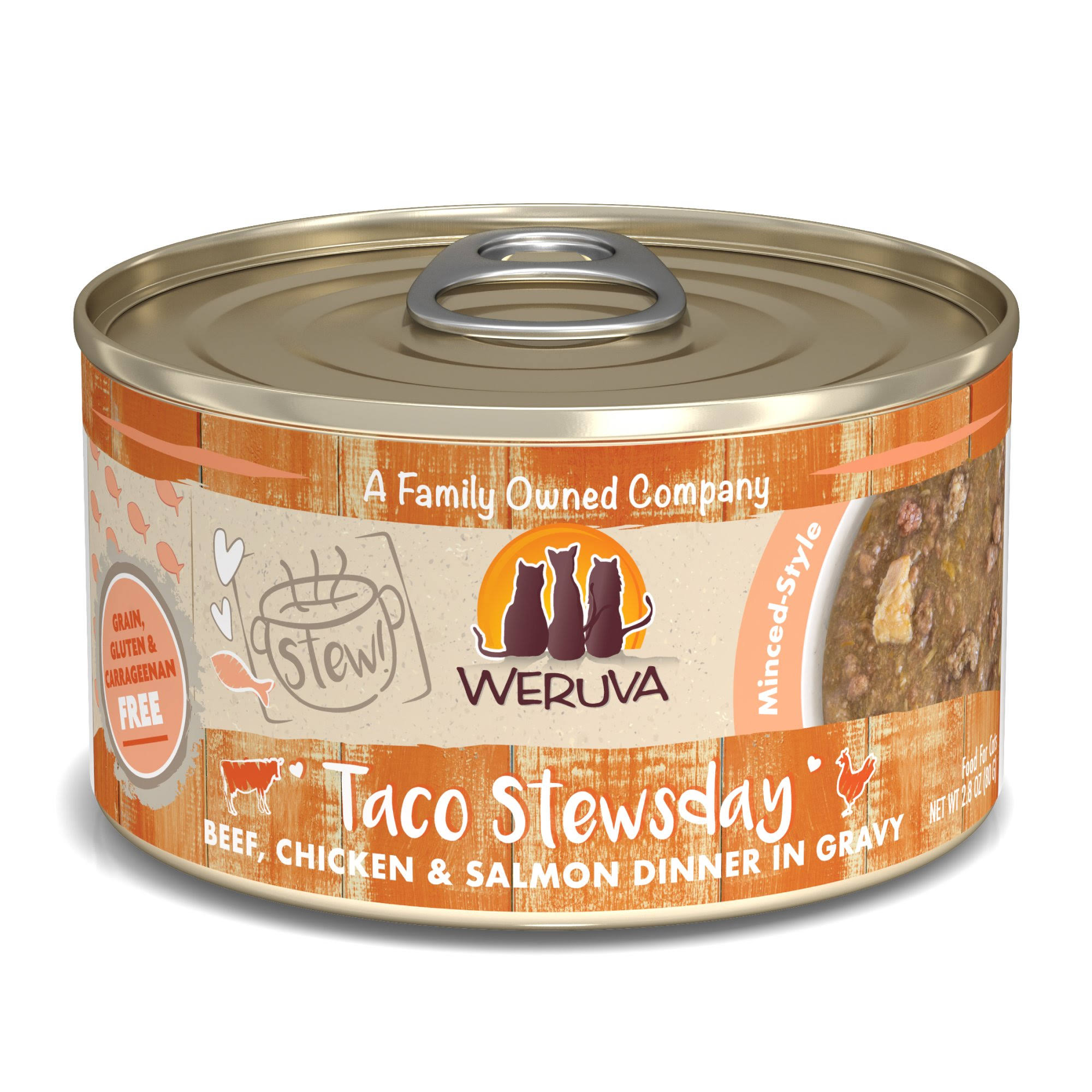 Weruva Stew! Taco Stewsday Beef, Chicken & Salmon Dinner in Gravy Food for Cats - 2.8 oz