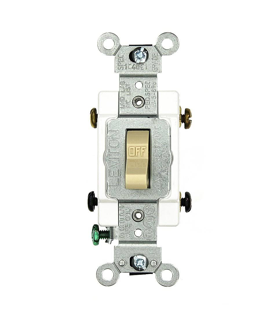 Leviton Double-Pole Commercial Switch - Ivory, 20 Amp