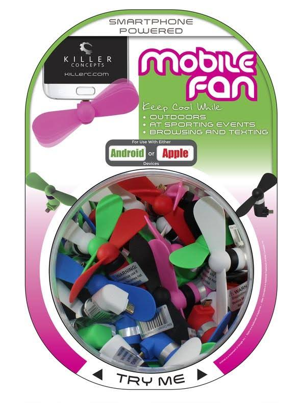 Killer Concepts FAN-MIX-100 Android or Apple Mobile Device Fan, Assorted Color