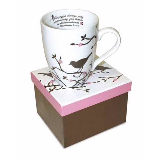 Divinity Boutique Mug-brown Bird-Be Joyful Always. 1Thess 5:16-18