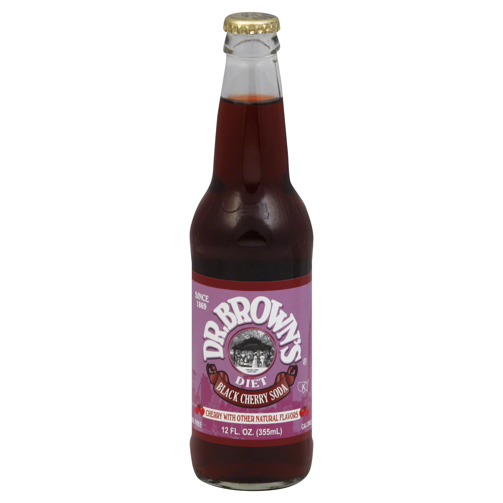 Dr. Brown's Diet Black Cherry Soda - 12oz, 24 cans