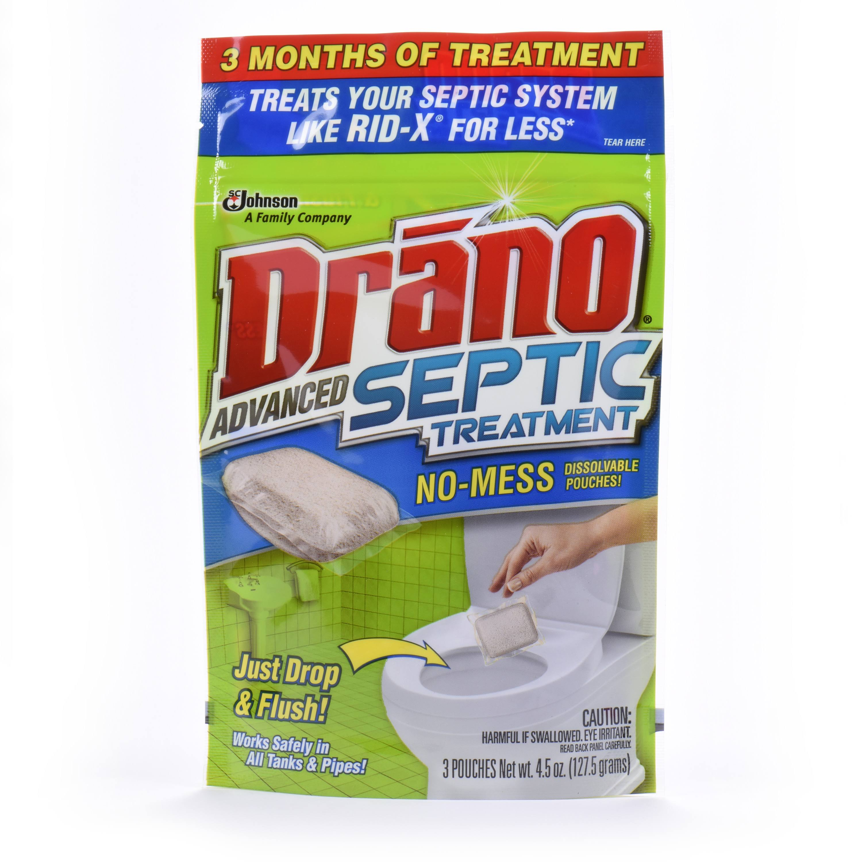 Drano Advanced Septic Treatment Clog Removing Pouches - 3ct