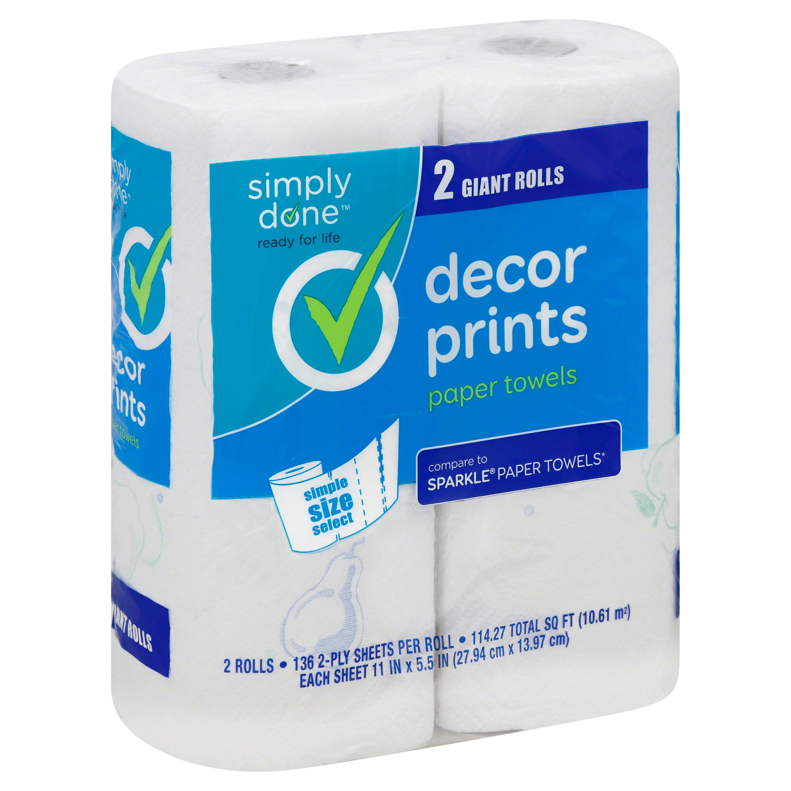 Simply Done Paper Towels, Simple Size Select, Giant Rolls, Decor Prints, 2-Ply - 2 rolls