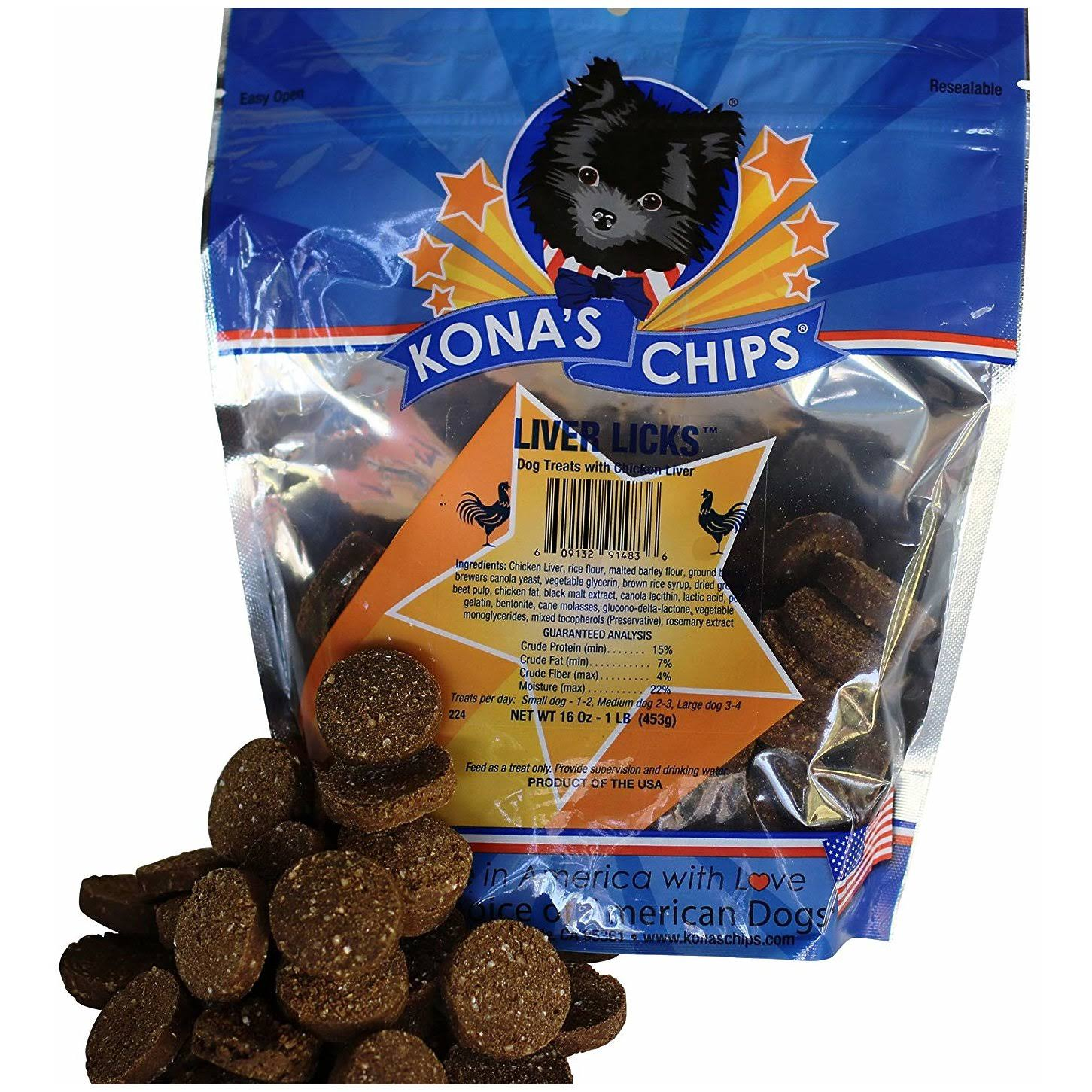 Kona's Chips Liver Licks Dog Treat Chews - Liver, 1lb