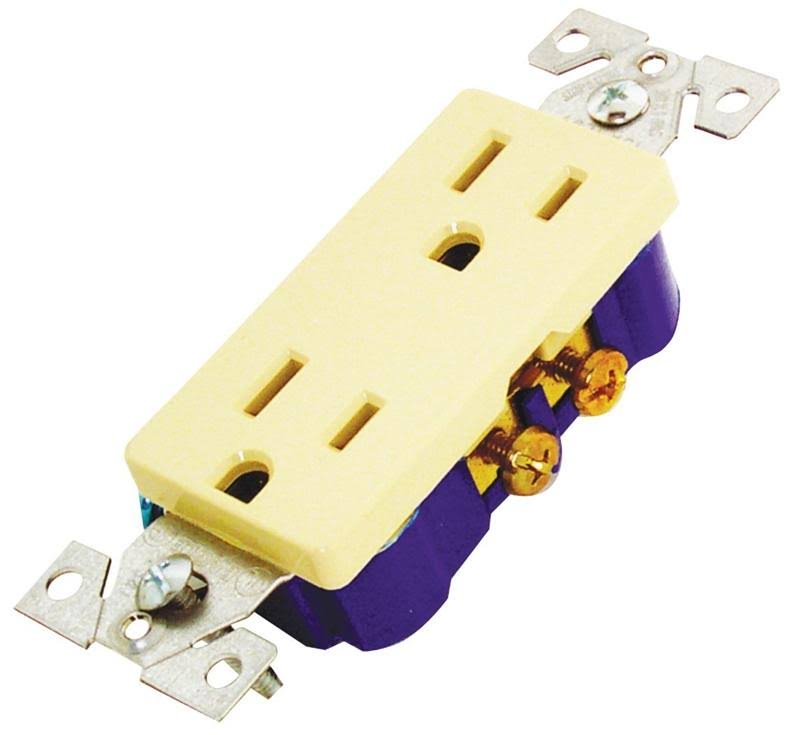 Cooper Wiring Duplex Receptacle - Ivory, 15A, 2 Pole, 3 Wire, 12V