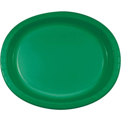 Creative Converting Oval Paper Platters - Emerald Green, 8ct