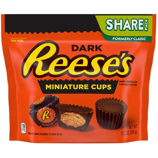 Reeses Miniature Cups, Dark Chocolate & Peanut Butter, Dark, Share Pack - 10.2 oz