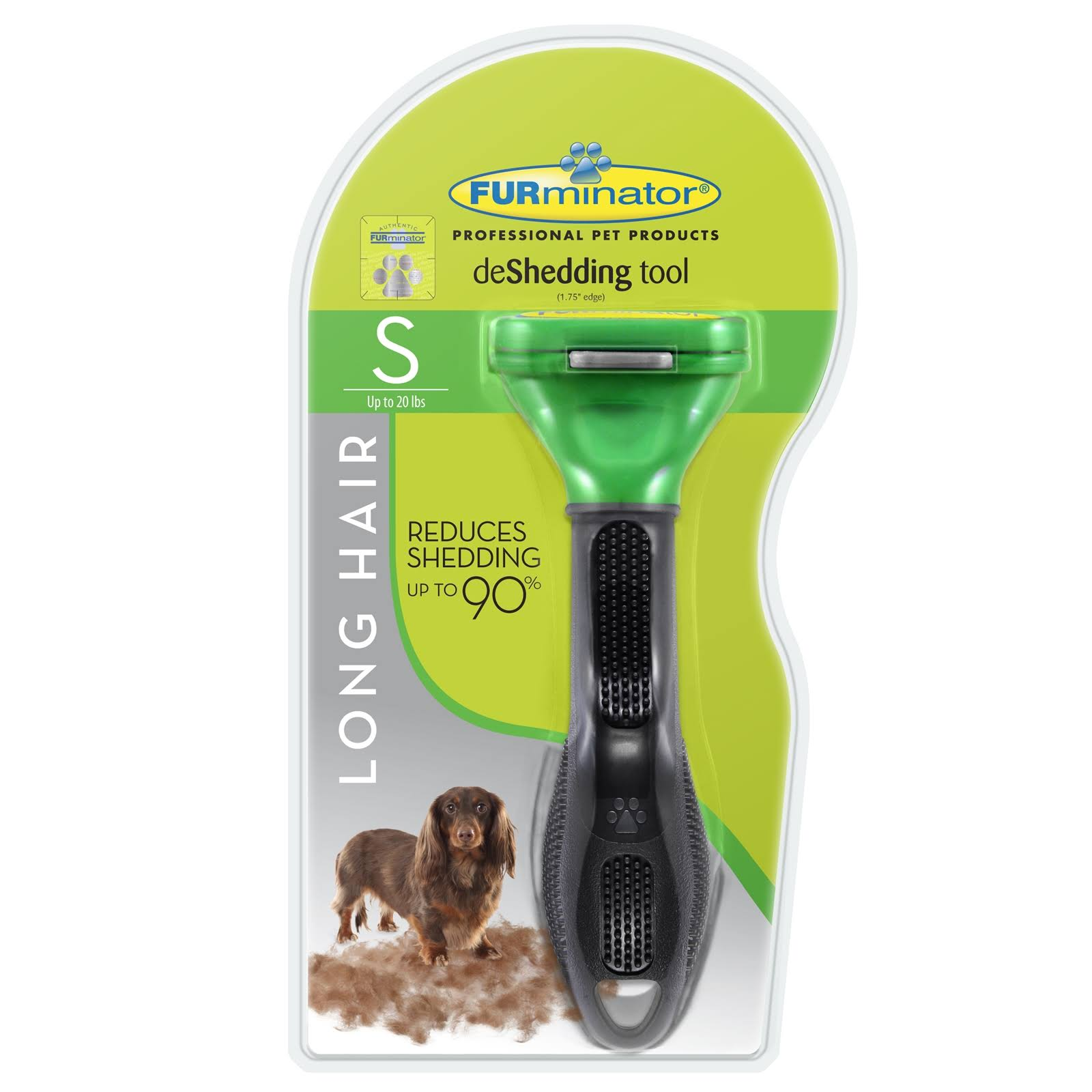 Furminator Deshedding Tool - Small, Long Hair, Green