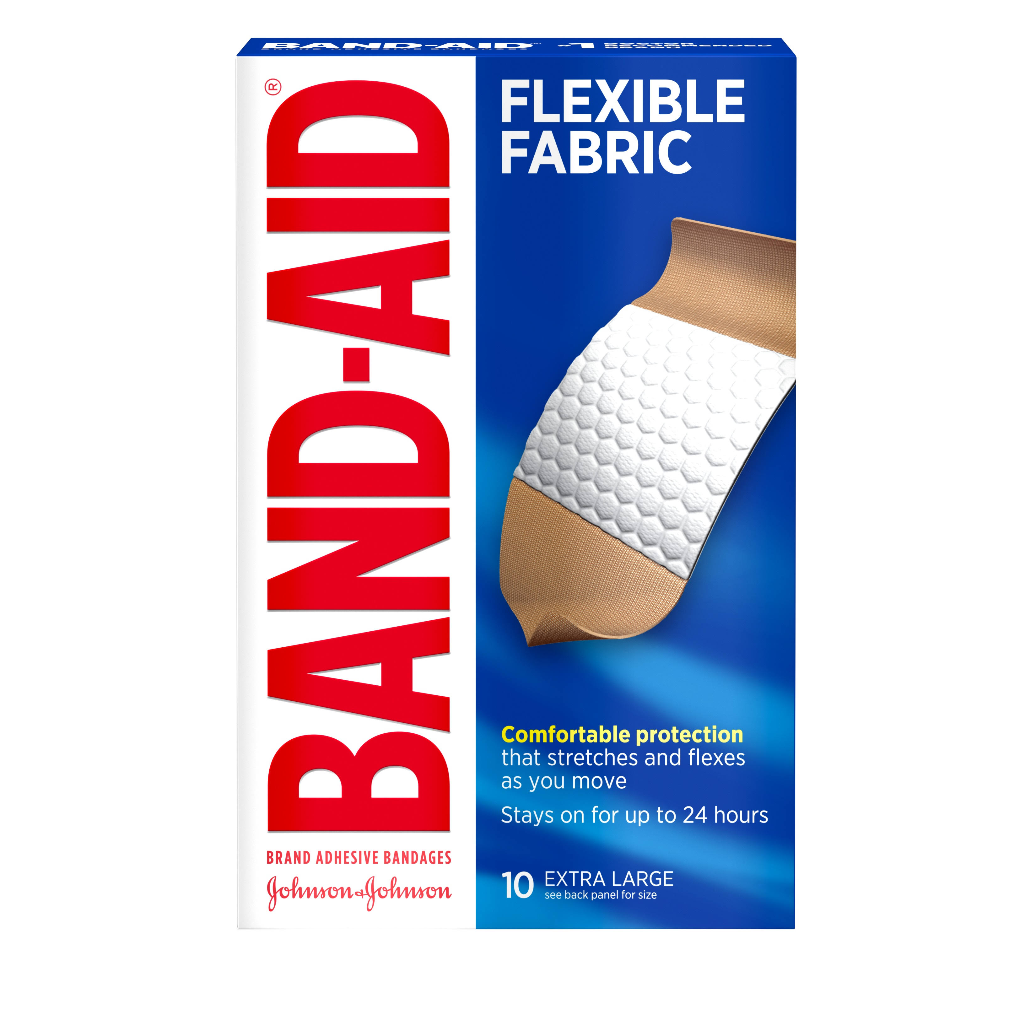 "Band-Aid Flexible Fabric Adhesive Bandages - X-Large, 1.25"" x 4"", x10"