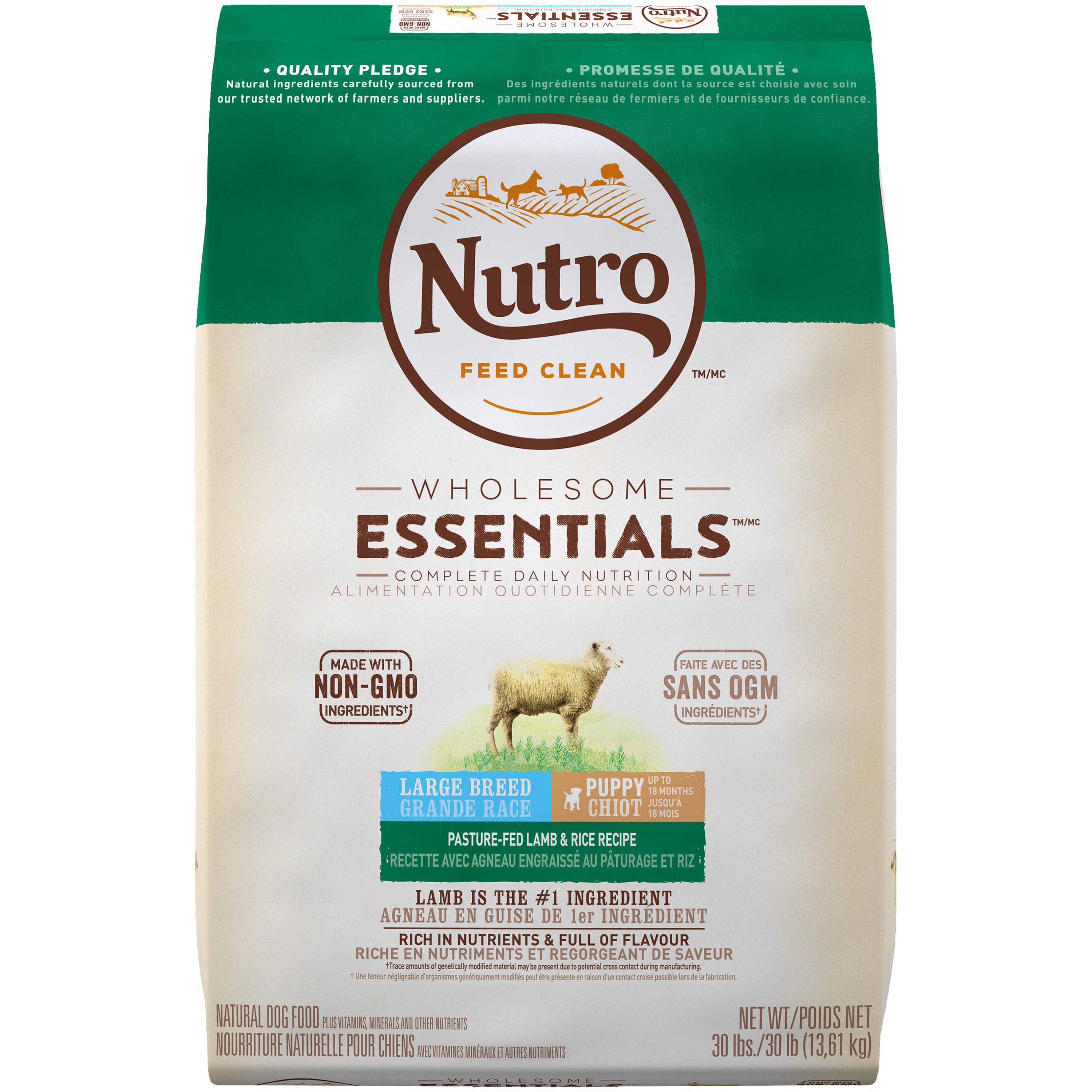 Nutro Wholesome Essentials Large Breed Puppy Dry Dog Food - Lamb & Rice, 30 lbs