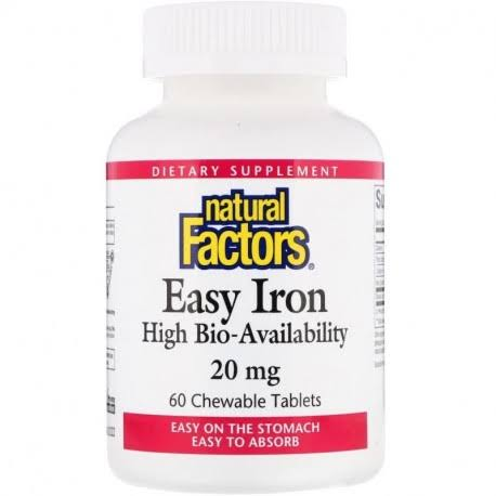 Natural Factors Easy Iron 20mg Chewables Tablets - 60 Tablets