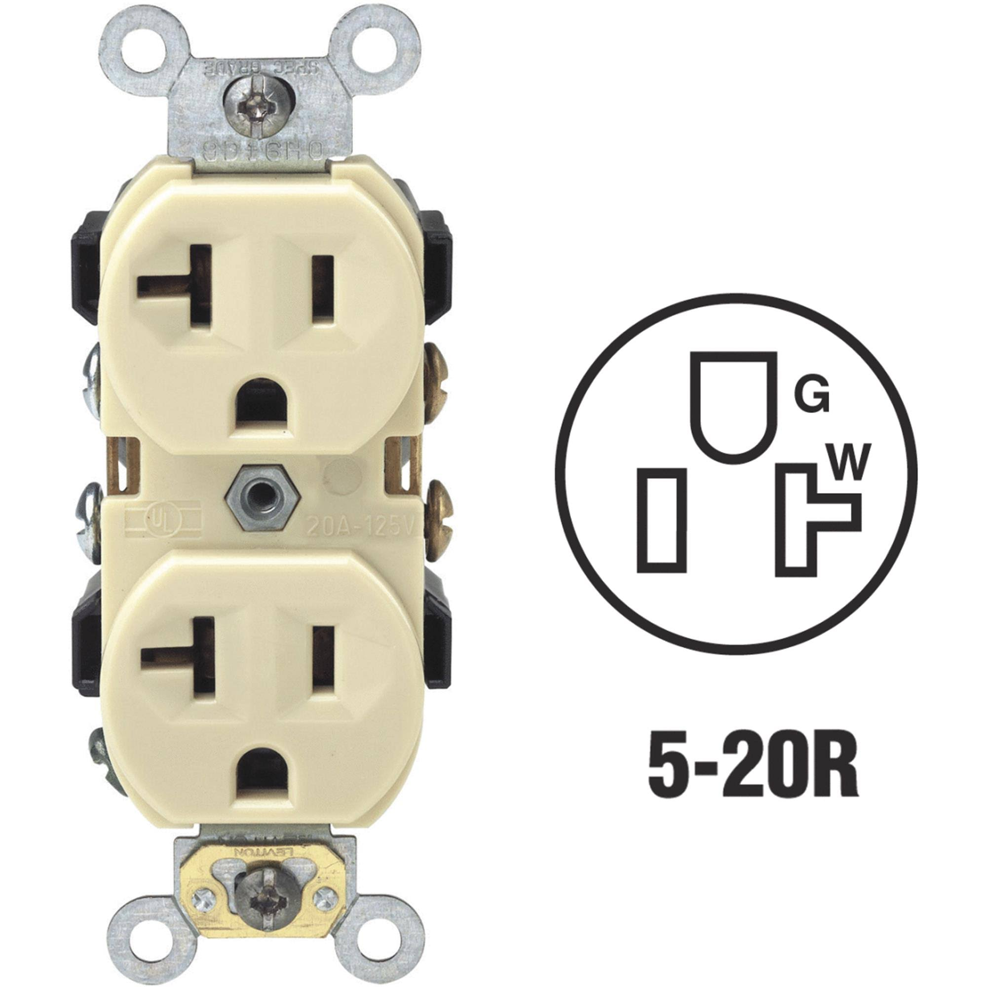 Leviton Commercial Grade Grounded Duplex Outlet - 20A, Ivory, 125V