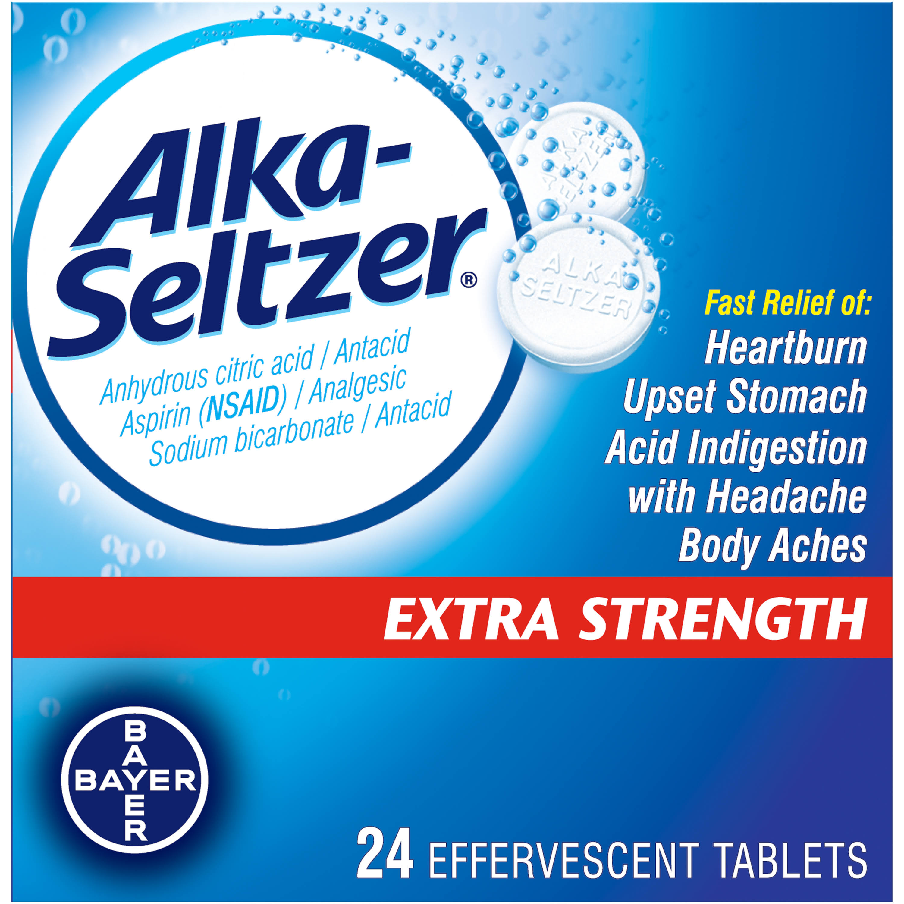Bayer Alka-Seltzer Extra Strength Effervescent Tablets - 24 Pack