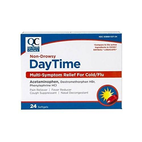 Quality Choice Daytime Multi-Symptom Relief for Cold/Flu 24 Softgels Each (1)