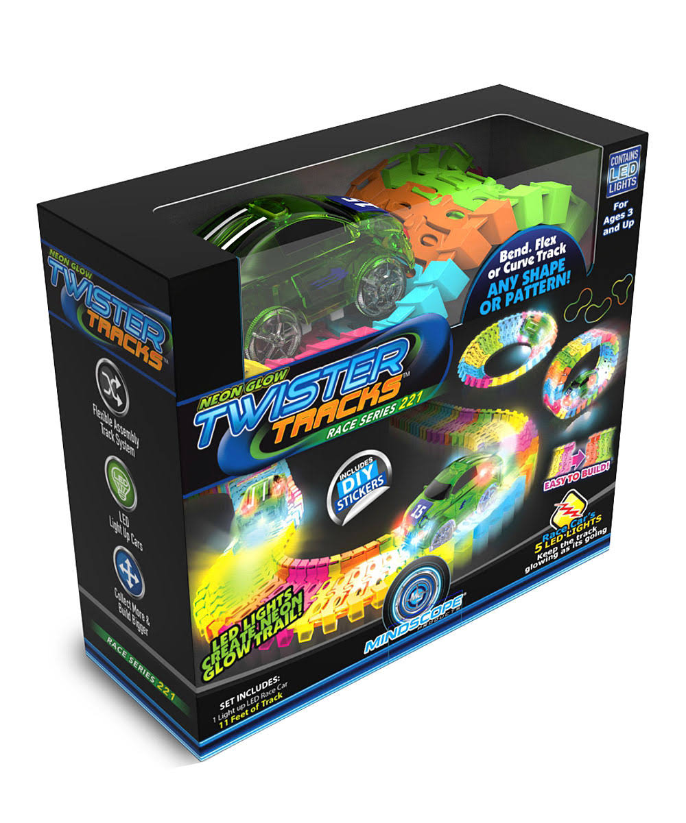 Mindscope Twister Race Track - Neon Glow in The Dark, 221pcs, 11'