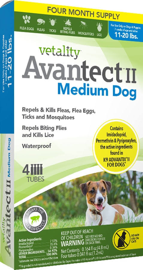 Avantect II Dog Flea and Tick Spot On - Medium Dog, 4 Dose