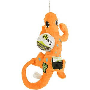 Godog Amphibianz Gecko Chew Guard Plush Dog Toy, Orange, Medium