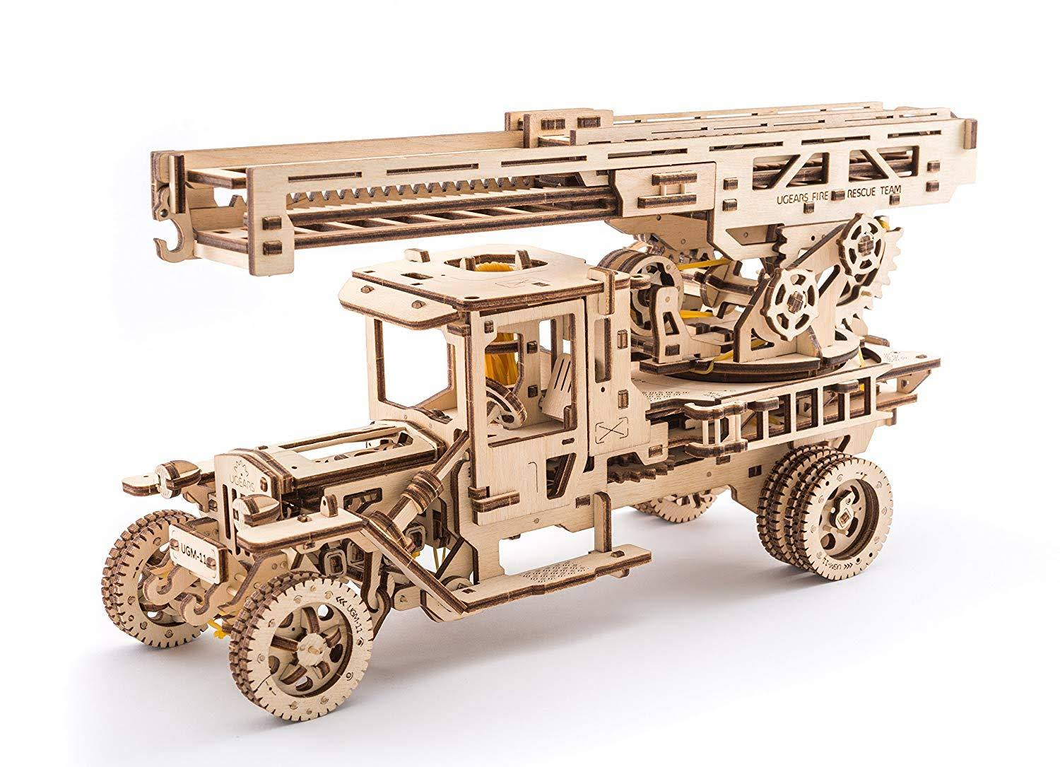 UGears Fire Truck with Ladder Mechanical 3D Wood Puzzle Kit