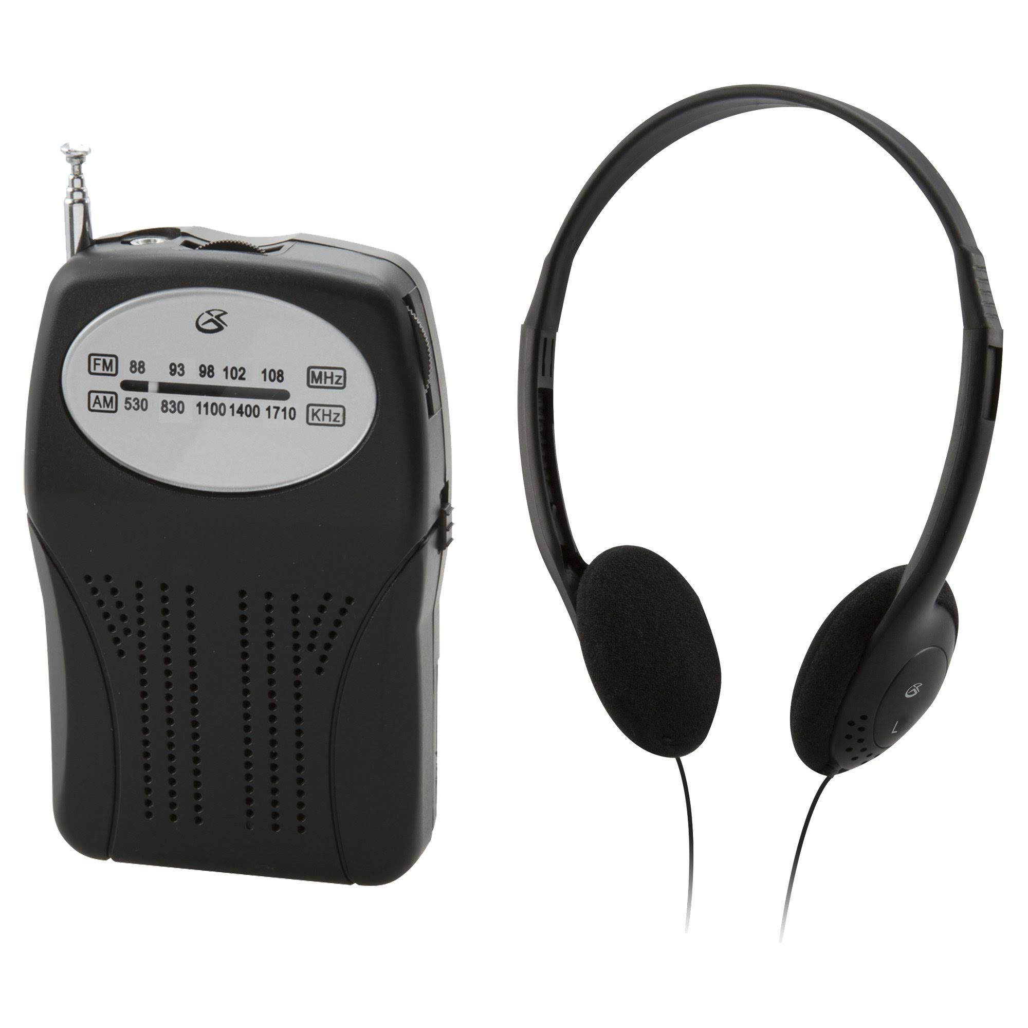 GPX GPXR116B Compact Portable AM FM Radio - with Headphones