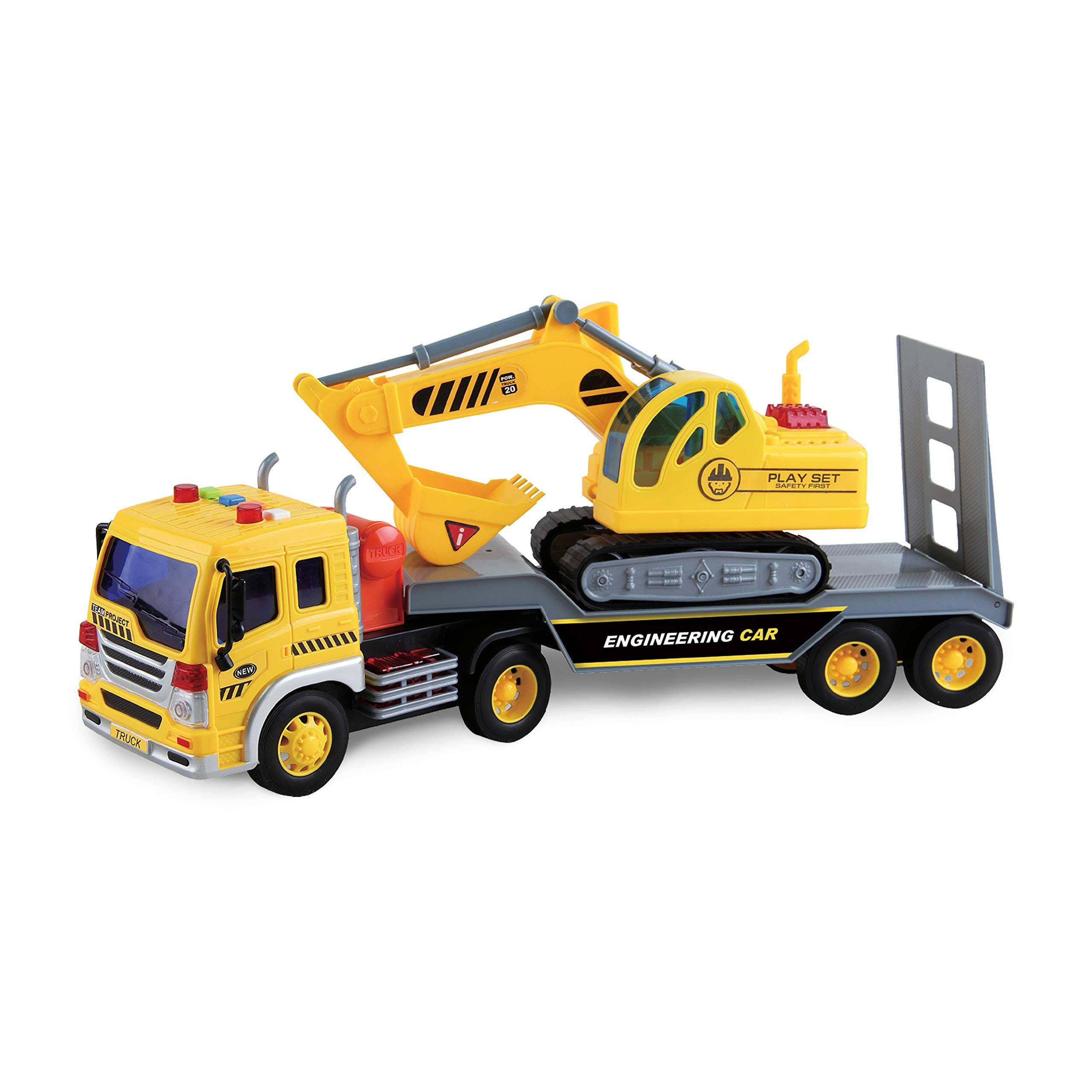 Maxx Action Long Hauler Excavator Truck - 1:16 Scale, With Realistic Lights and Sounds