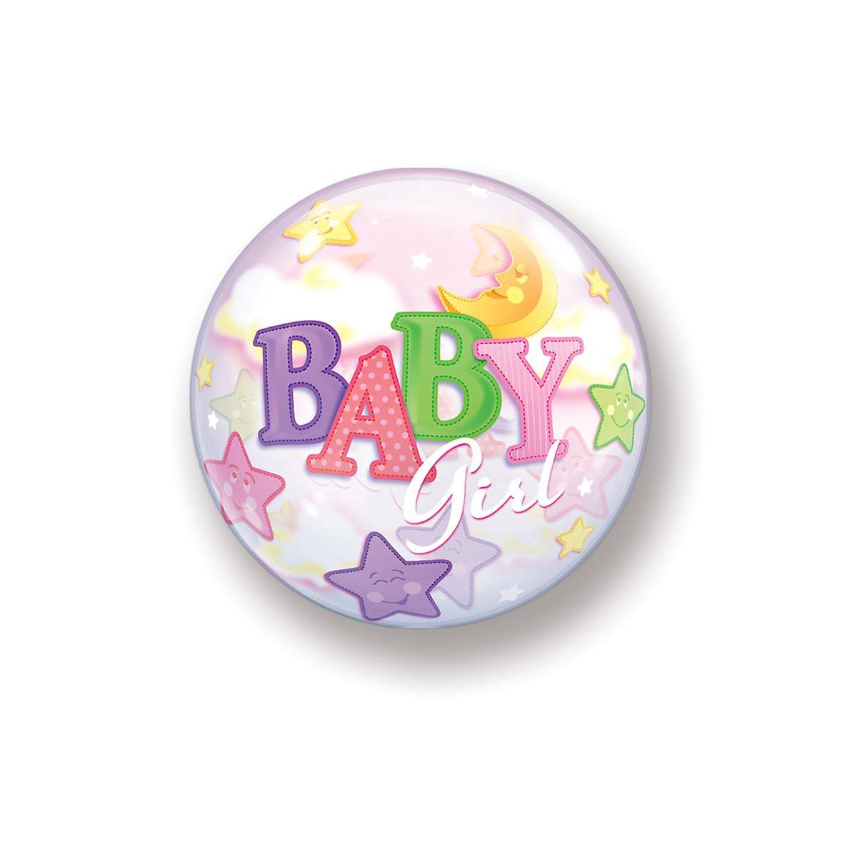 Baby Girl Moon & Stars Bubble Balloon - 60cm