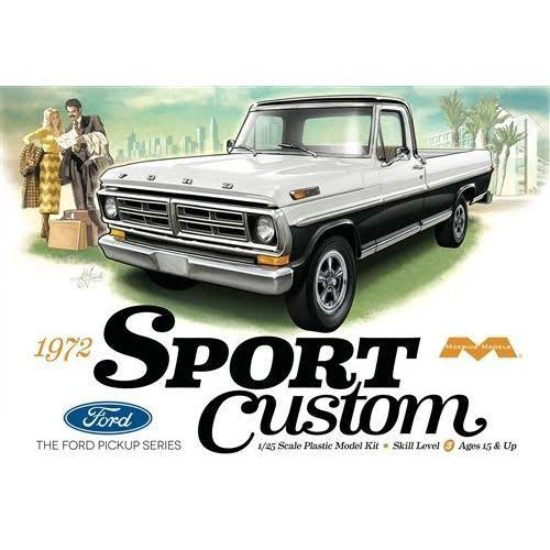 Moebius 1972 Ford Sport Custom Pickup Truck Model Kit - 1/25 scale