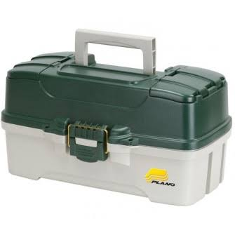 Plano 3 Tray Tackle Box - Dark Green and Off White