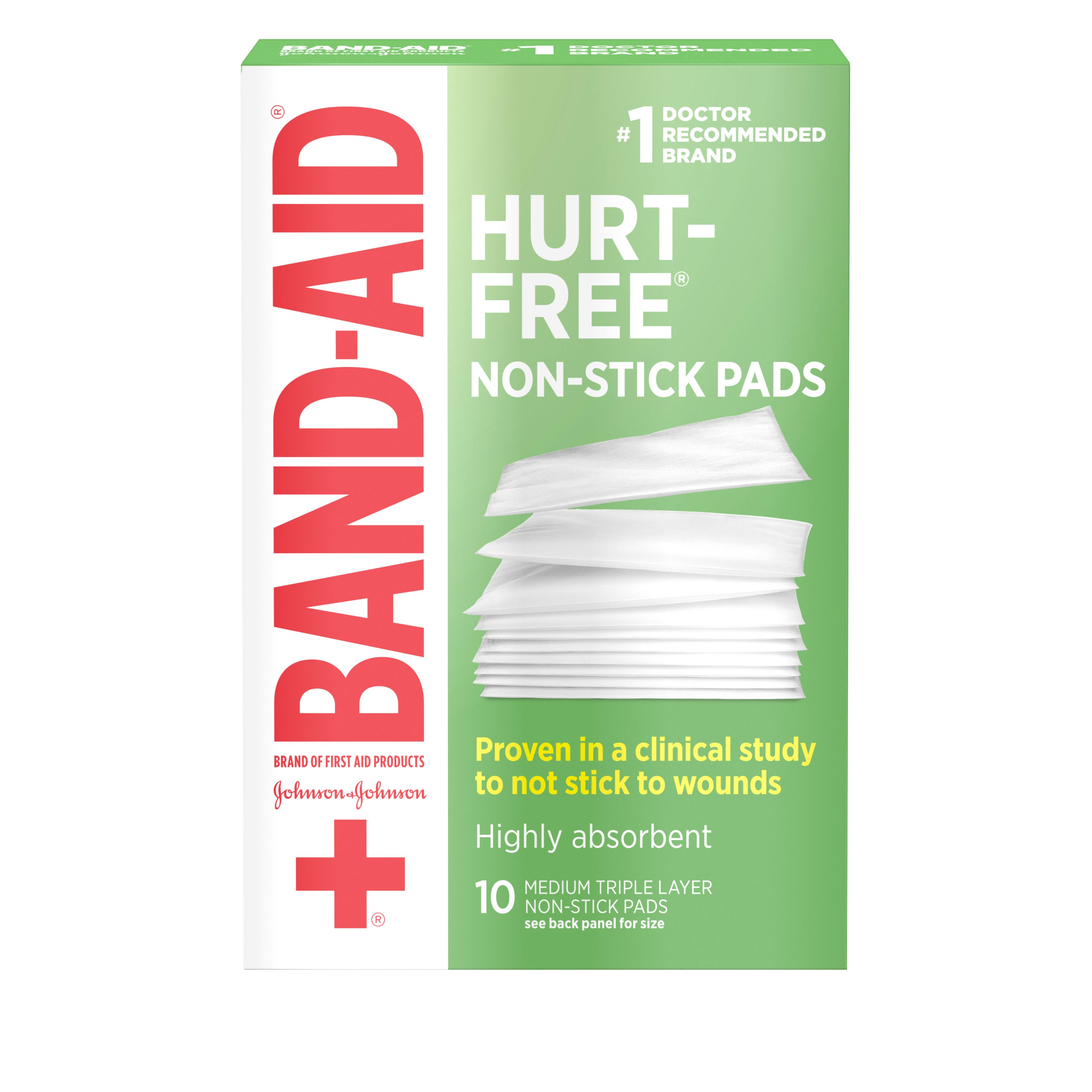 "J and J Band-Aid First Aid - Non-Stick Pads, 2"" x 3"", 10 Count"