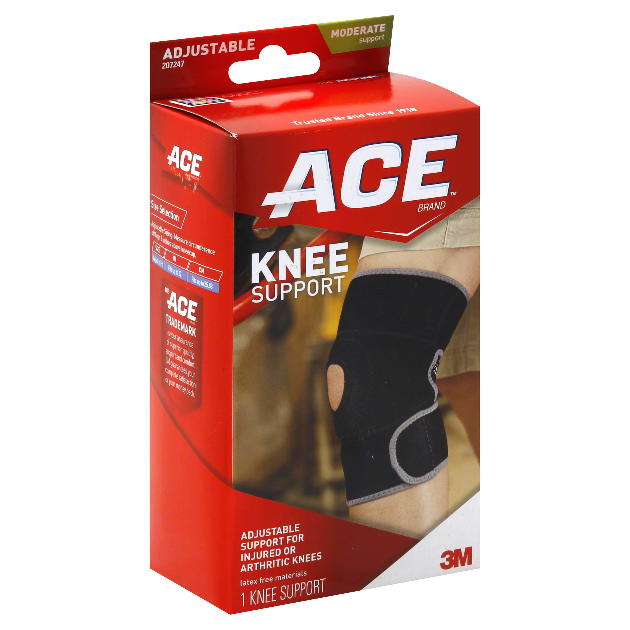 Ace Knee Support Wraparound Brace Adjustable Compression Neoprene - One Size, Black
