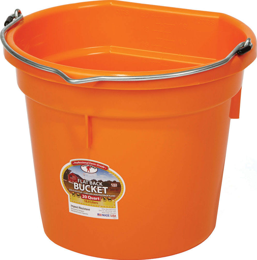 Miller 957805 Little Giant Plastic Flat Back Bucket - Orange
