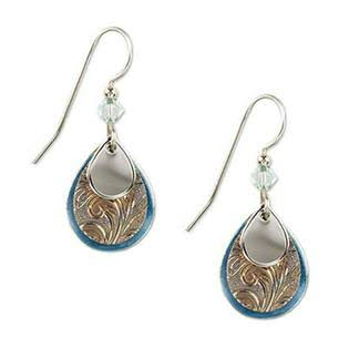 Silver Forest Layered Teardrop Earrings - Silver Tone and Blue