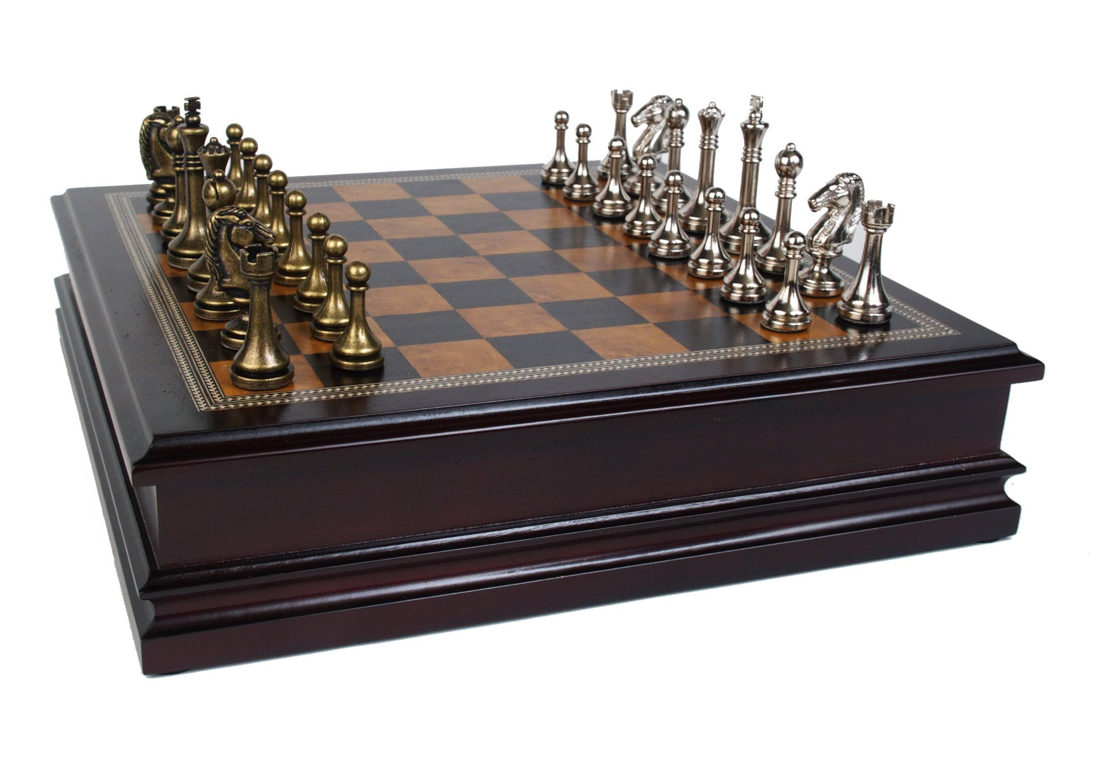 "Classic Games Collection Metal Chess Set - with Deluxe Wood Board, 2.5"" King"