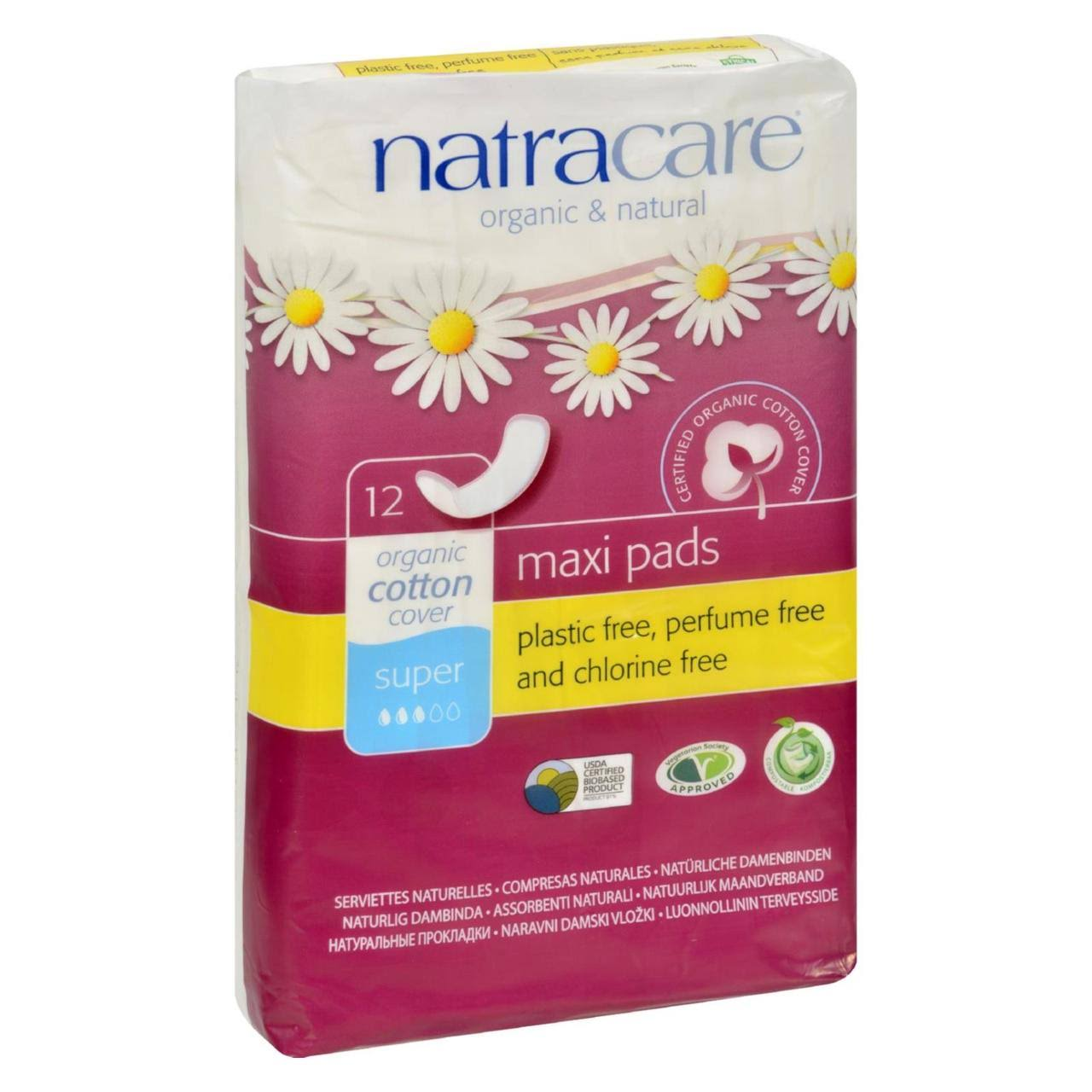 Natracare Organic Cotton Cover Super Maxi Pads - 12ct