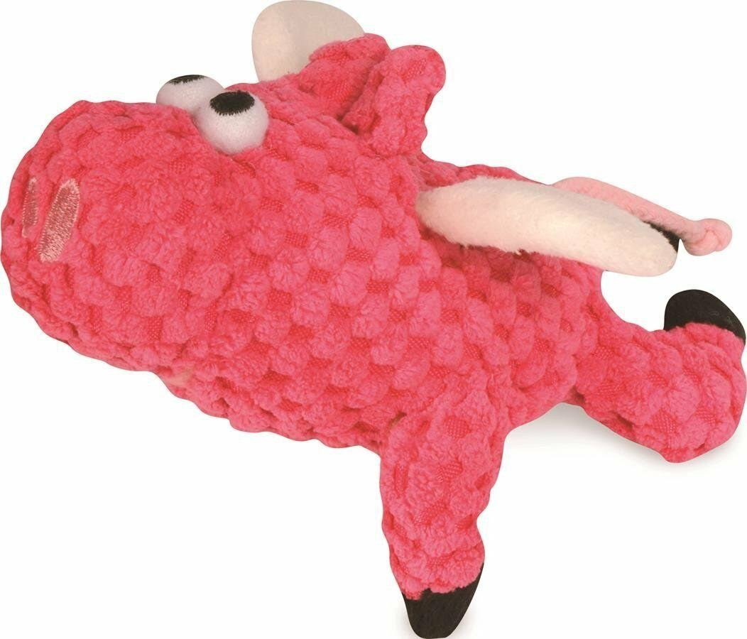 GoDog Checkers Flying Pig Plush Dog Toy