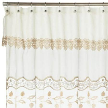 Lorraine Home Fashions Seville 70-Inch by 72-inch Shower Curtain Ecru