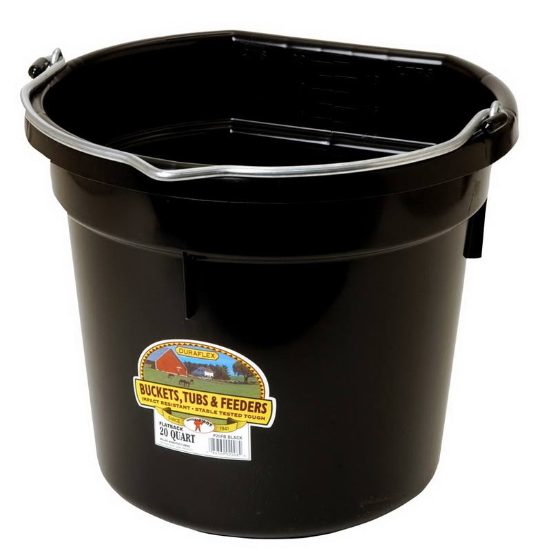 Little Giant Flat Plastic Bucket - Black