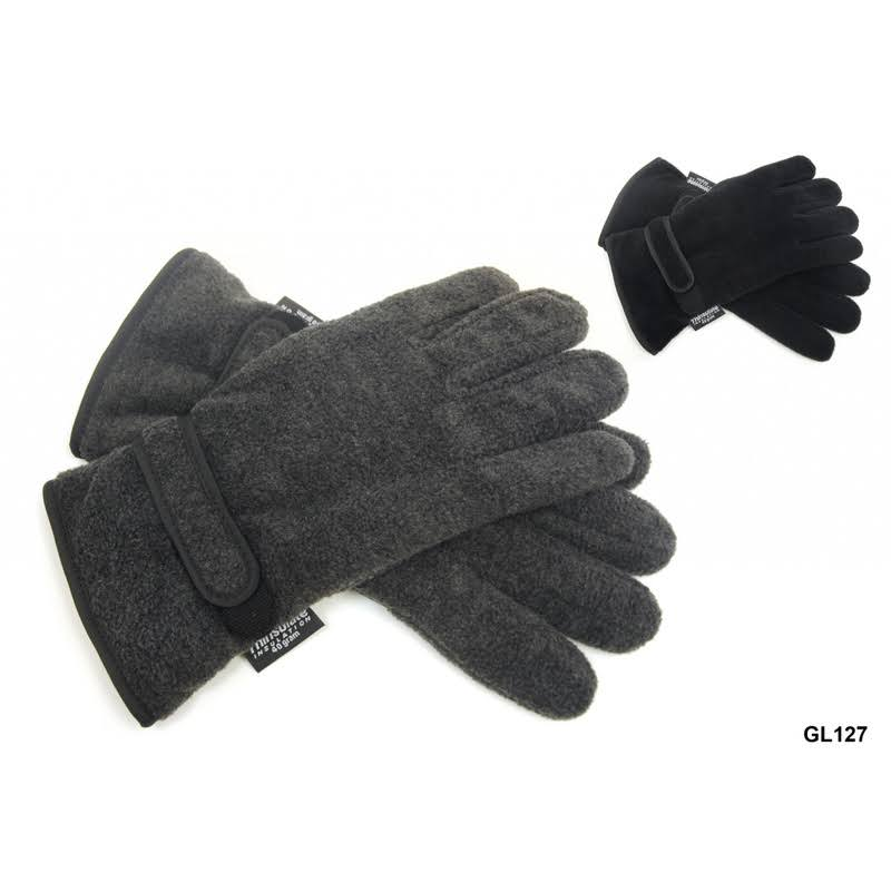 RJM Mens Fleece Glove - Black/Gray