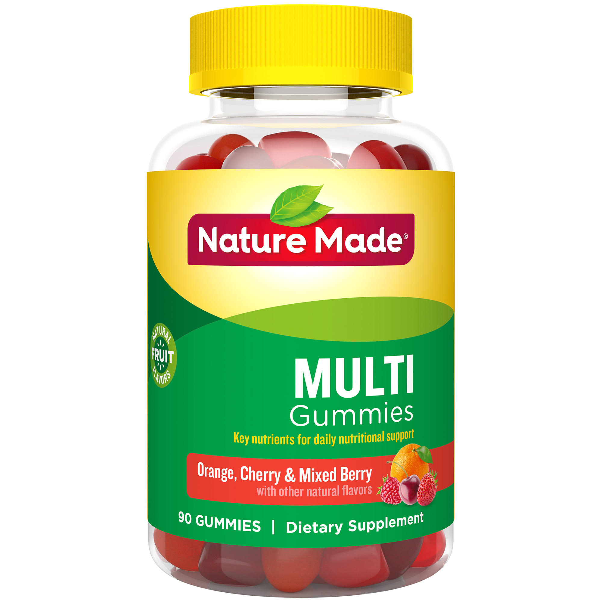 Nature Made Multi Adult Gummies - Orange, Cherry and Mixed Berry, 90ct